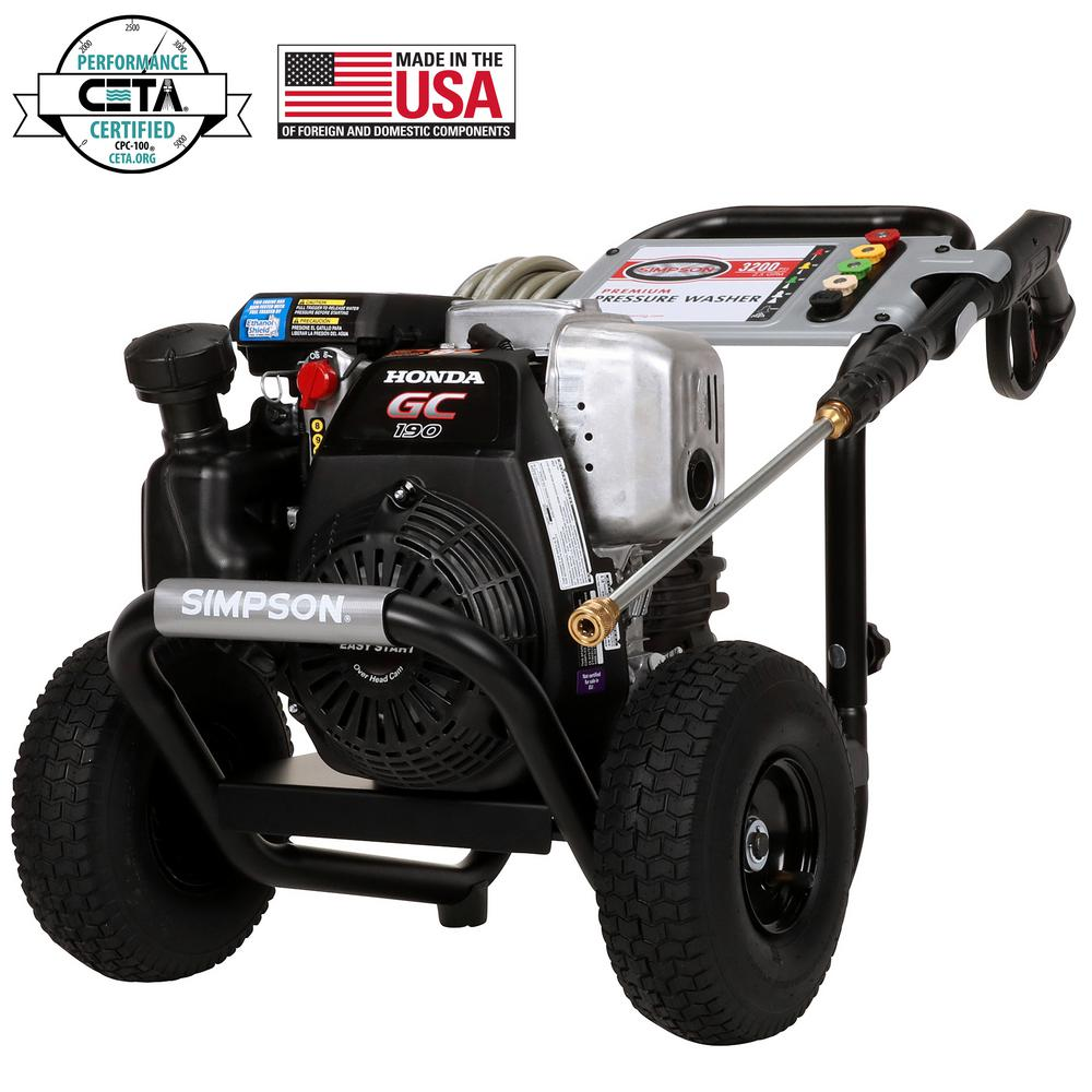 simpson pressure washers 60551 64_1000 simpson megashot 3200 psi at 2 5 gpm honda gc190 premium gas