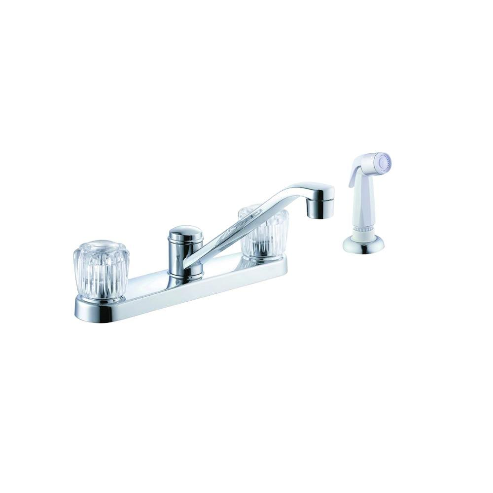 Glacier Bay Aragon 2-Handle Standard Kitchen Faucet with White Side Sprayer in Chrome