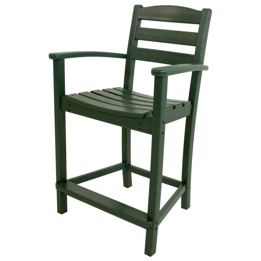 La Casa Cafe Green Plastic Outdoor Patio Counter Arm Chair
