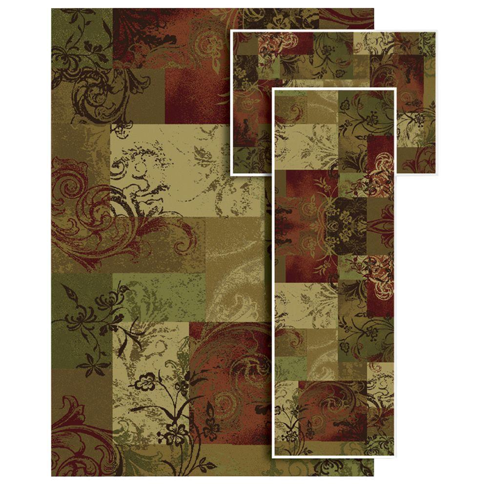 Oriental Weavers Tao Rustic Foliage Multi 4 ft. 11 in. x 7 ft. 3 Piece Area Rug Set-DISCONTINUED
