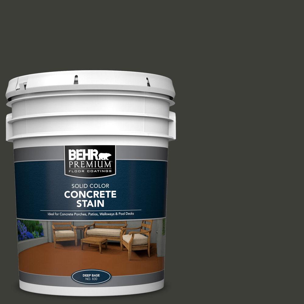 BEHR PREMIUM 5 gal. #PFC-75 Tar Black Solid Color Flat Interior/Exterior Concrete Stain