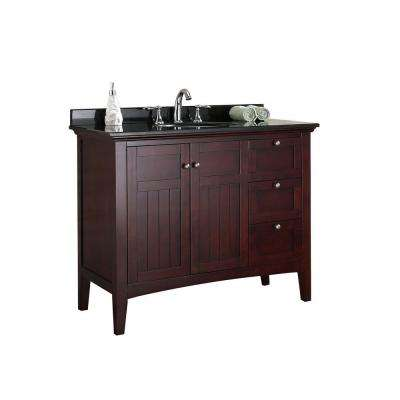 Gavin 42 in. Vanity in Tobacco with Granite Vanity Top in Black