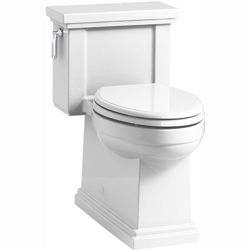 Tresham 1-Piece 1.28 GPF Single Flush Elongated Toilet with AquaPiston Flush Technology in White, Seat Included