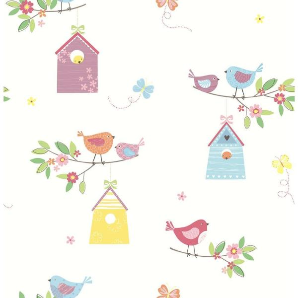 Brewster White Birdhouses Wallpaper Sample 2679-002126SAM