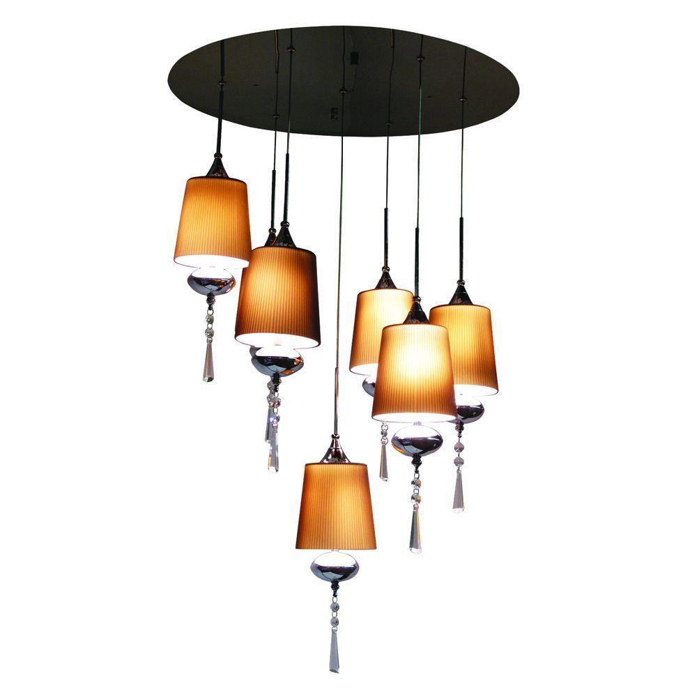 BAZZ Versa Collection 7-Light Chrome Hanging Chandelier