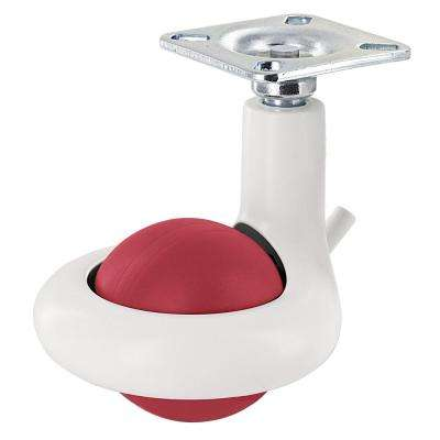 1-31/32 in. Red/White Swivel with Brake Plate Caster, 176 lb. Load Rating