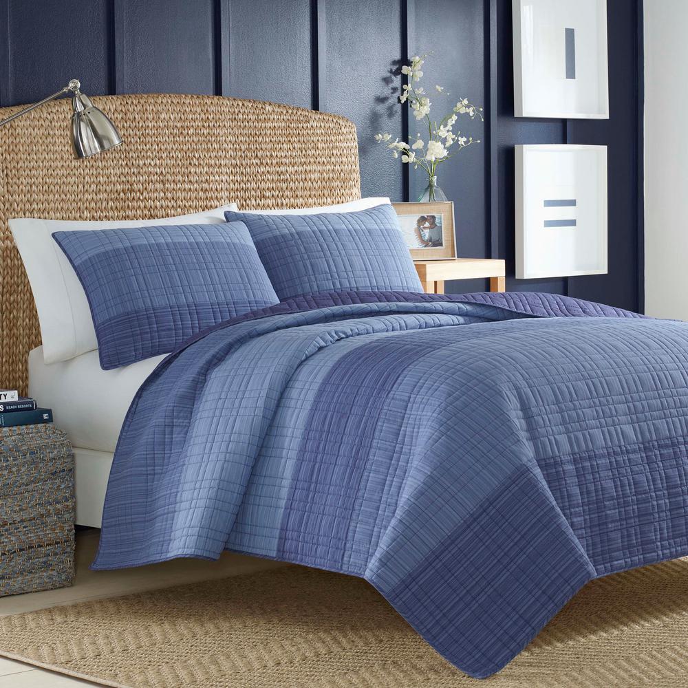 Riverview Dark Blue Full/Queen Cotton Quilt
