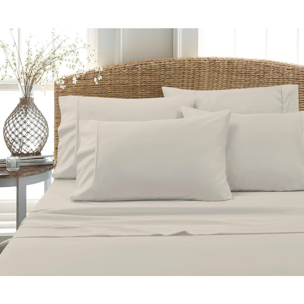6 Piece Tan Solid Cotton Rich Queen Sheet Set