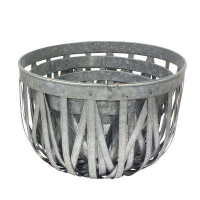 18 in. X 12 in. Large Antique Galvanized Metal Round Open Weave Baskets (Set of 3)