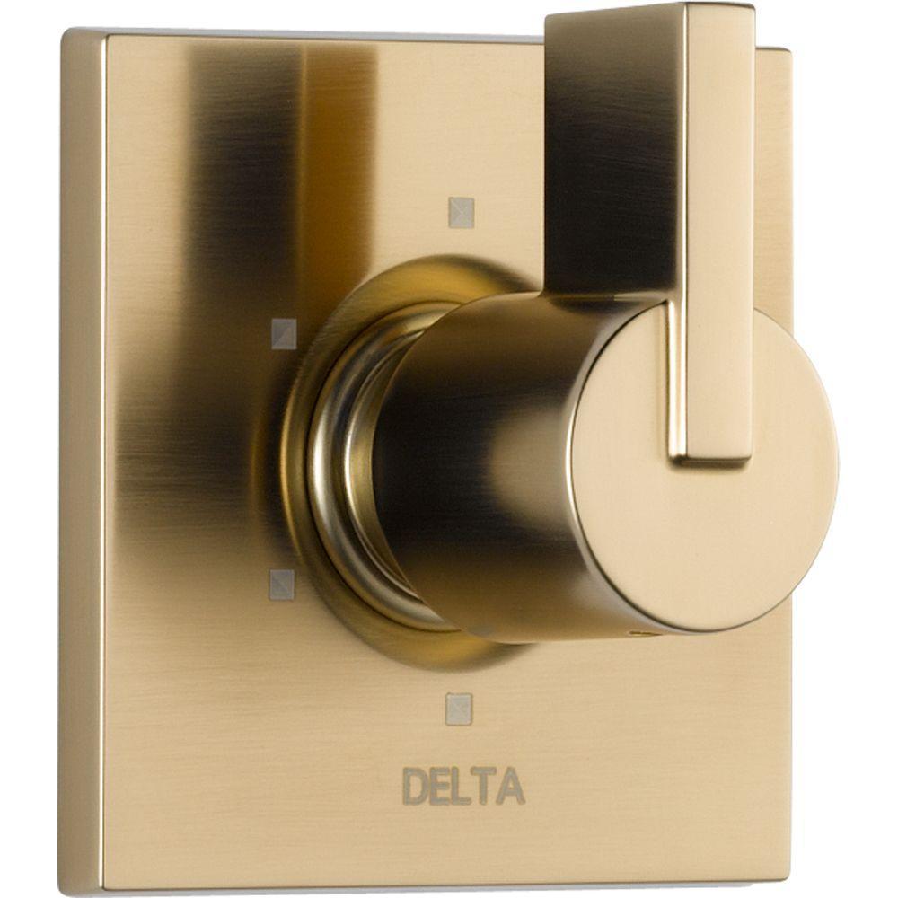 Delta Vero 1-Handle 6-Setting Diverter Valve Trim Kit in Champagne ...