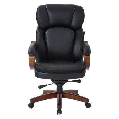 Van Buren Black Bonded Leather Knee Tilt Executive Chair