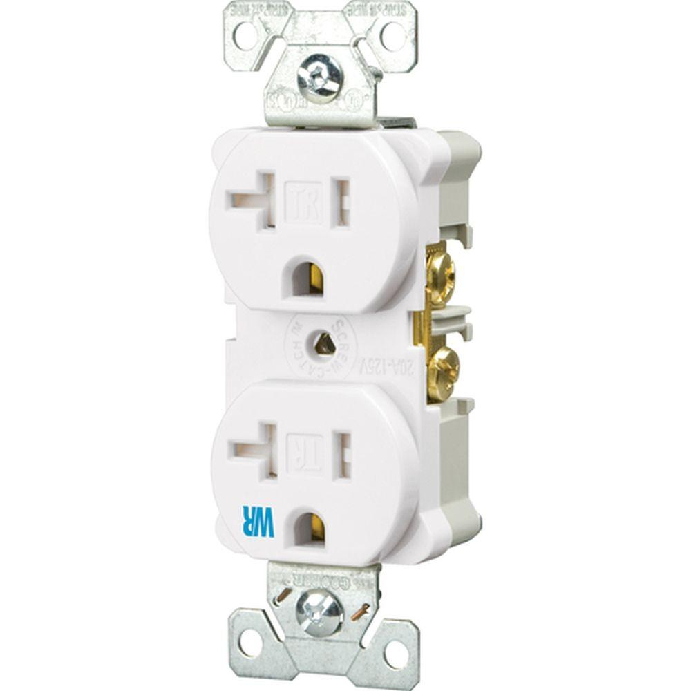 Eaton 20 Amp Tamper and Weather Resistant Electrical Duplex Outlet - White