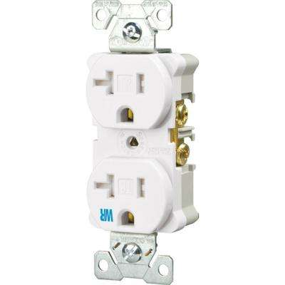 20 Amp Tamper and Weather Resistant Electrical Duplex Outlet - White