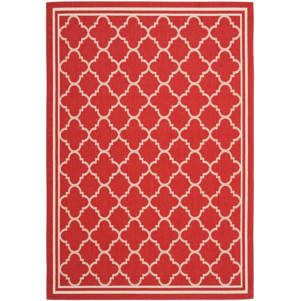 Safavieh Courtyard Red/Bone 9 ft. x 12 ft. Indoor/Outdoor Area Rug
