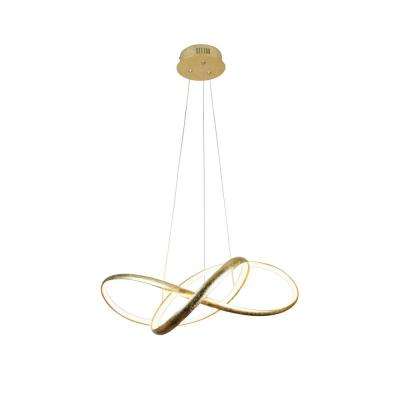 Circular Knot 36-Watt Integrated LED Golden Leaf Pendant with Acrylic Diffuser