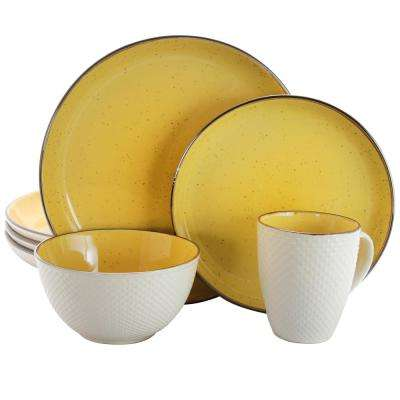 Mellow 16-Piece Yellow Textured Dinnerware Set