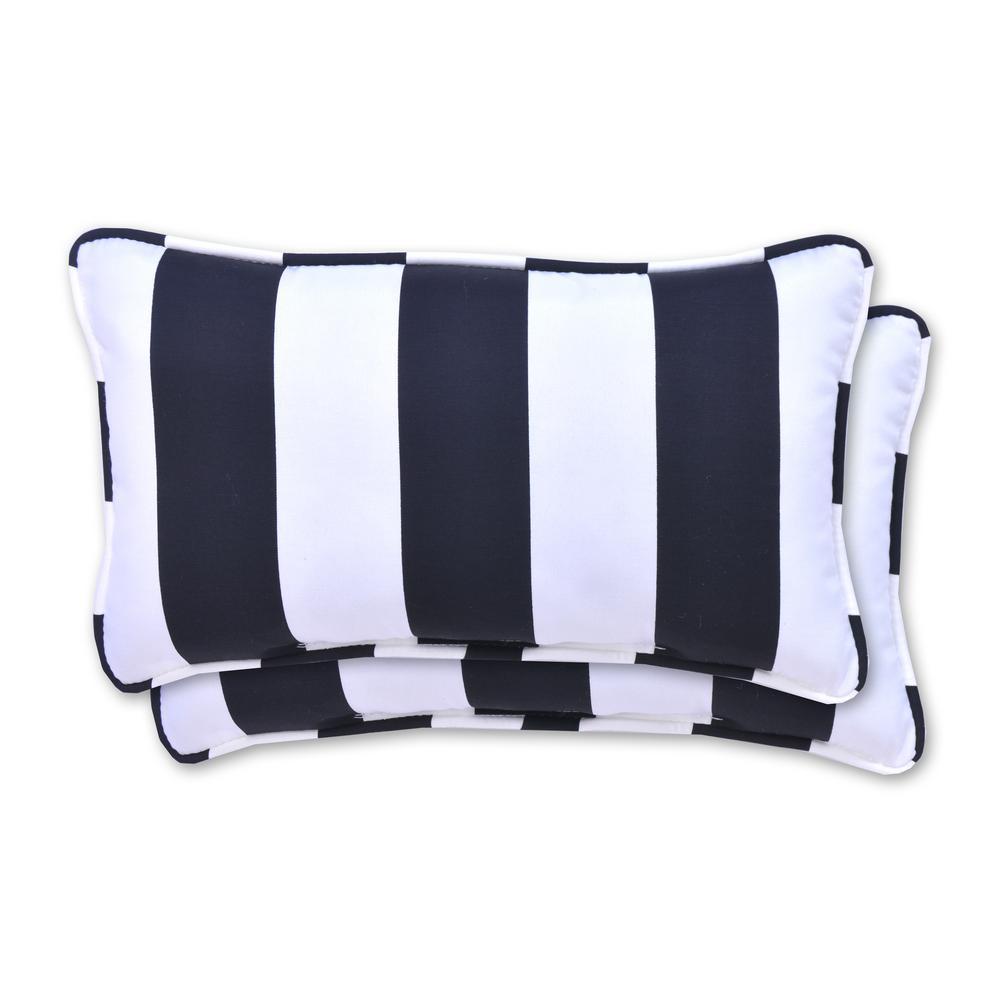 20 in. x 12 in. Black Cabana Stripe Outdoor Lumbar Pillow (2 Pack)