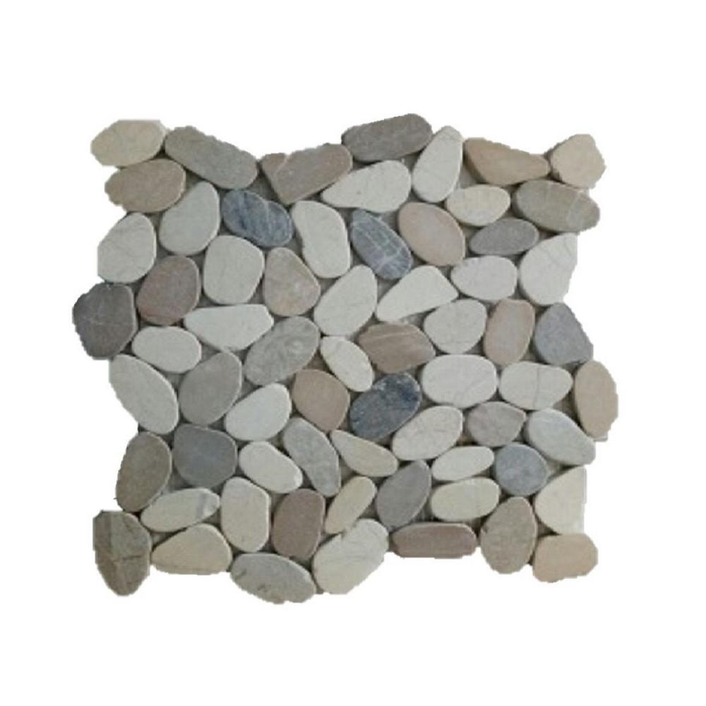 Rain Forest 12 in. x 12 in. White, Grey and Tan Honed Sliced Pebble Floor and Wall Tile (5.0 sq. ft. / case)