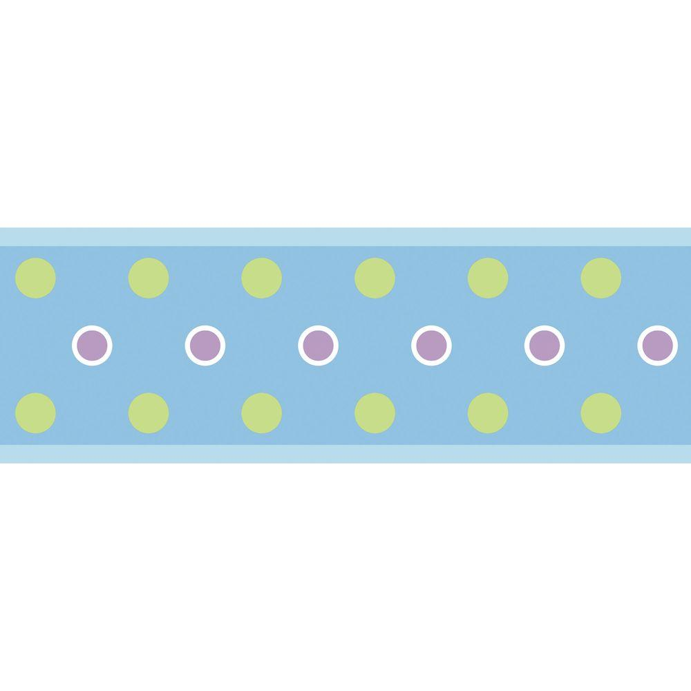RoomMates Blue Dot Peel and Stick Wallpaper Border