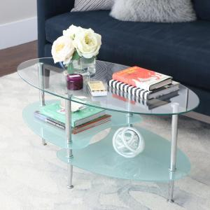 Mid 38 in. Silver Medium Oval Glass Coffee Table with Shelf