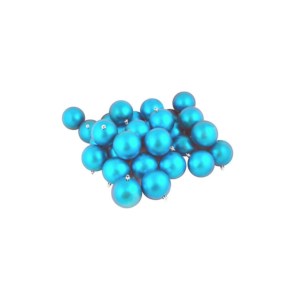 Matte Turquoise Blue Shatterproof Christmas Ball Ornaments (32-Count)