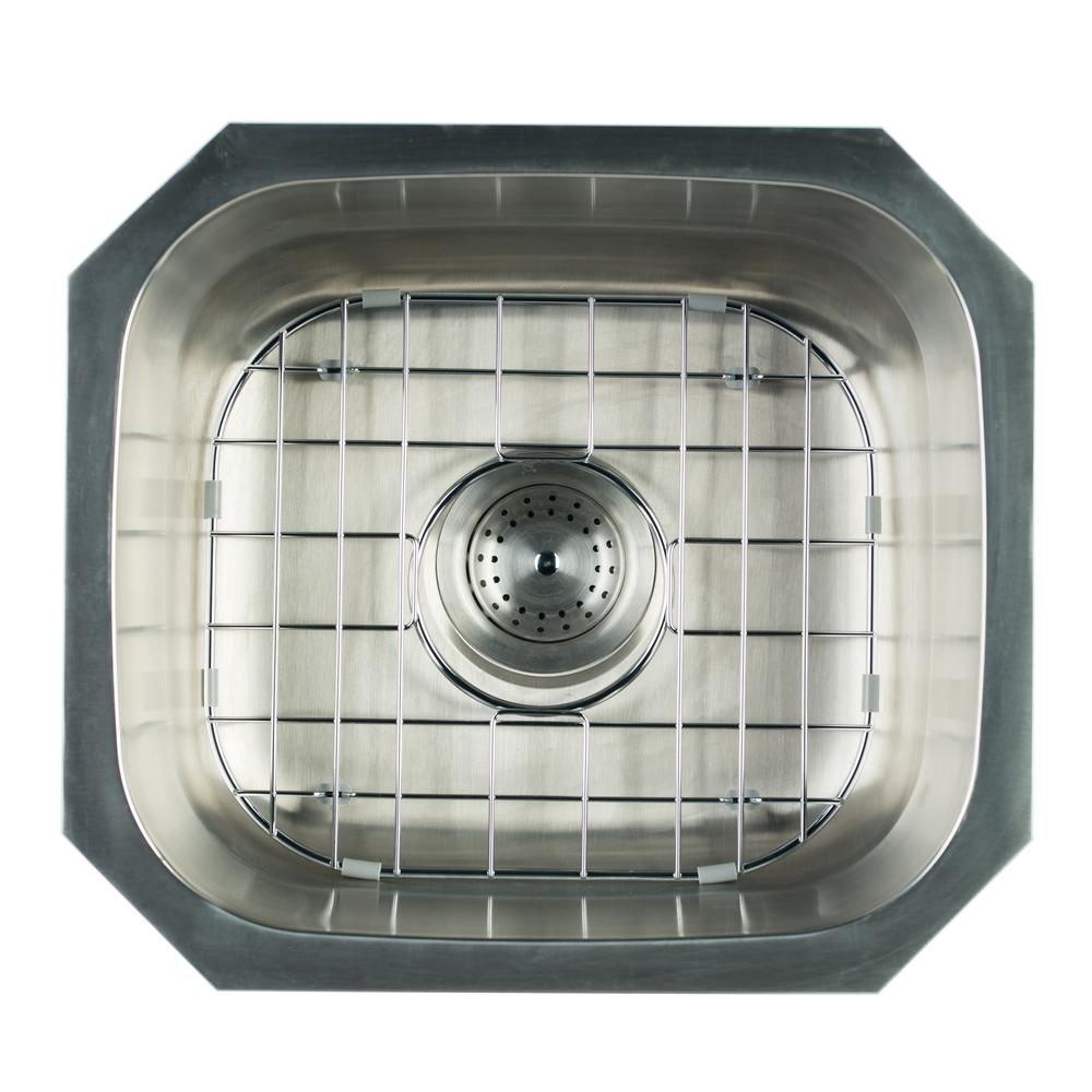 Undermount Stainless Steel 16 in. Single Bowl Kitchen Sink with Grid