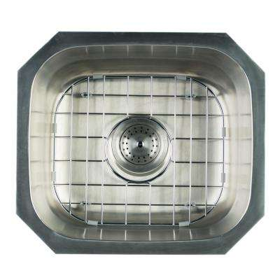 Undermount Stainless Steel 16 in. Single Bowl Kitchen Sink with Grid and Strainer
