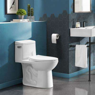 Avallon 1-piece 1.28 GPF Left Side Single Flush Handle Elongated Toilet in White with Seat Included