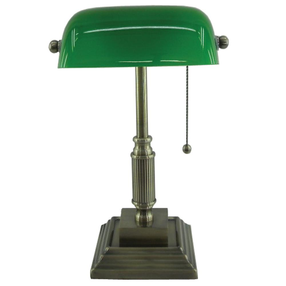 Normande lighting 15 in antique brass bankers lamp with green normande lighting 15 in antique brass bankers lamp with green glass shade aloadofball Choice Image