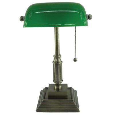 15 in. Antique Brass Bankers Lamp with Green Glass Shade