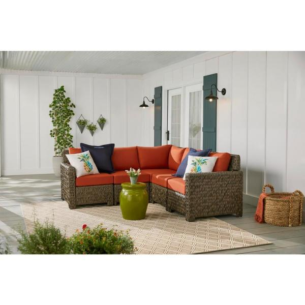 Laguna Point 5-Piece Brown Wicker Outdoor Patio Sectional Sofa Set with CushionGuard Quarry Red Cushions