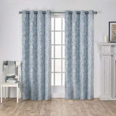 Lamont Steel Blue Jacquard Grommet Top Window Curtain