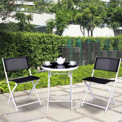 3-Piece Metal Outdoor Patio Bistro Sets Folding Table Chair