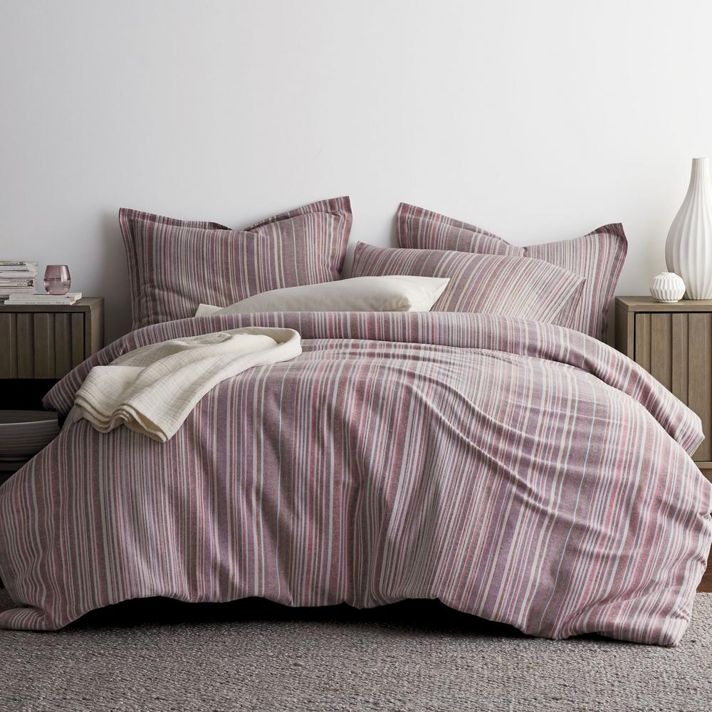 Bromley Stripe Plum (Purple) Queen Duvet Cover