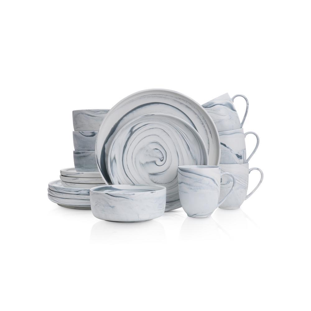 32-Piece Casual Gray Porcelain Dinnerware Set (Set for 8)