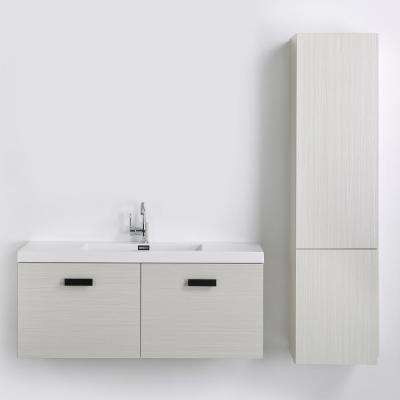 47.2 in. W x 18.3 in. H Bath Vanity in Gray with Resin Vanity Top in White with White Basin