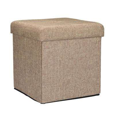Natural Linen Look Single Folding Ottoman