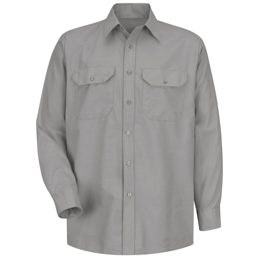 Men's Size XL x 34/35 Light Grey Solid Dress Uniform Shirt