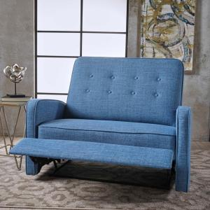 Phenomenal Noble House Calliope Button Back Muted Blue Fabric Reclining Creativecarmelina Interior Chair Design Creativecarmelinacom