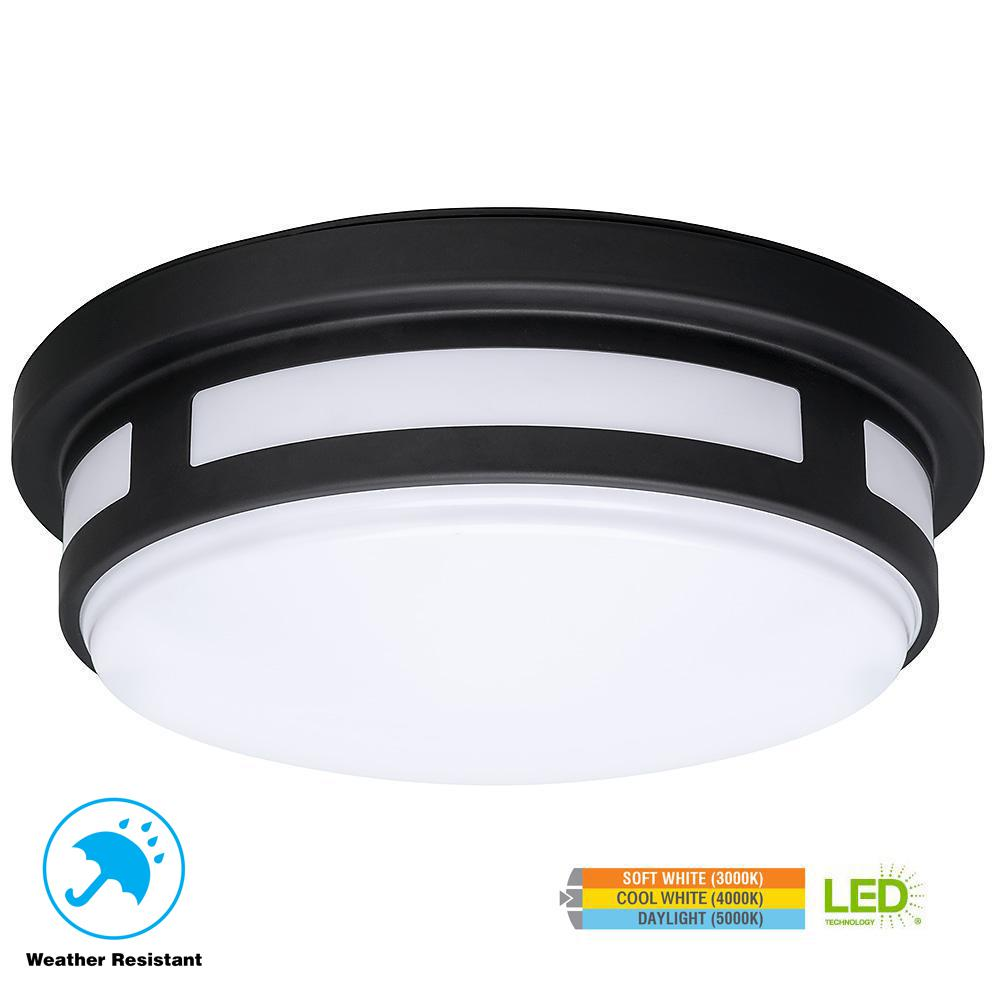 Hampton Bay 11 In Round Black Integrated Led Outdoor Flushmount Wiring A Patio Light Porch With Color Temperature