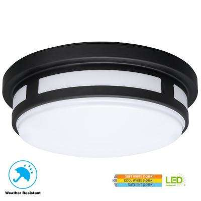 11 in. Round Black Integrated LED Outdoor Flushmount Porch Light with Color Temperature Changing Feature