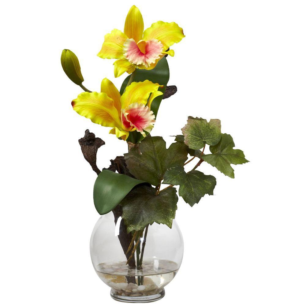 145 in h yellow mini cattleya with fluted vase silk flower h yellow mini cattleya with fluted vase silk flower arrangement mightylinksfo
