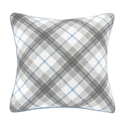 Silver Branch Blue, Grey, White Polyester 16 in. x 16 in. Square Decorative Throw Pillow