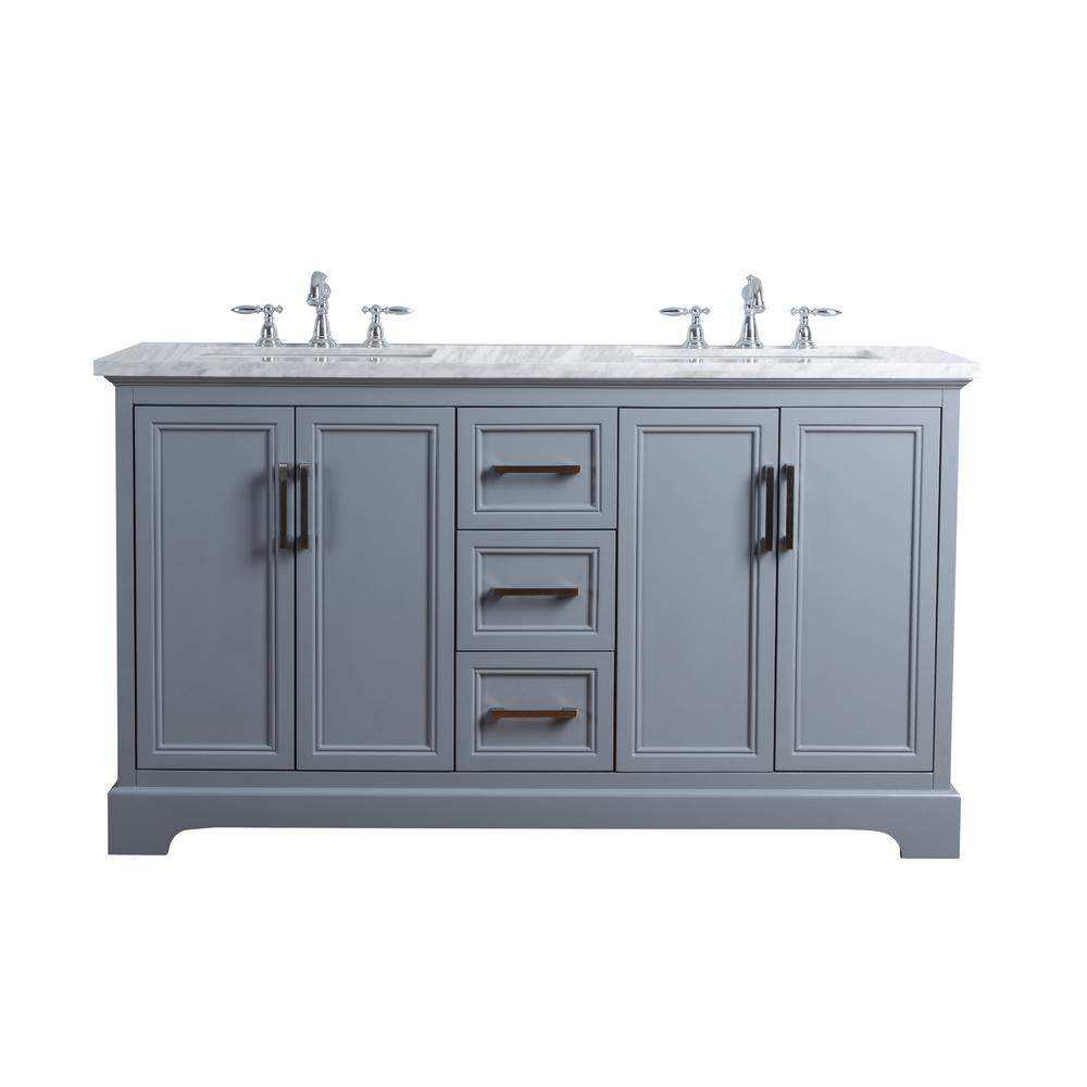 Stufurhome 60 In Ariane Double Sink Vanity Gray With Marble Top Carrara
