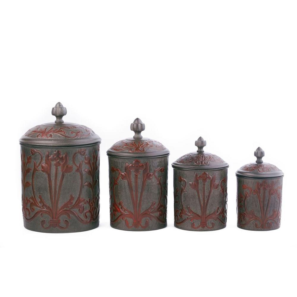 Old Dutch Art Nouveau Canister Set with Fresh Seal Covers (4-Piece)