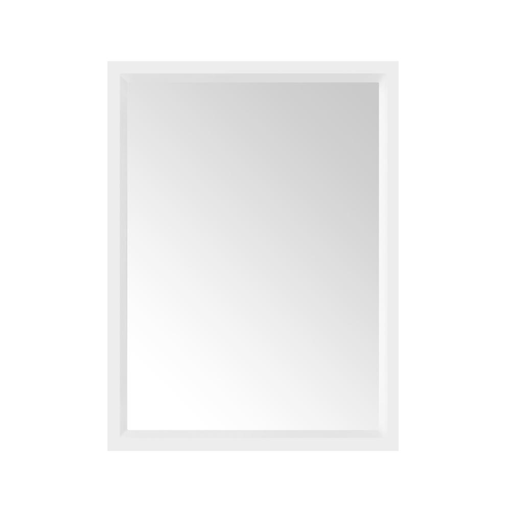 Home Decorators Collection Rockleigh 24 in. x 32 in. Single Framed Wall Mirror in White