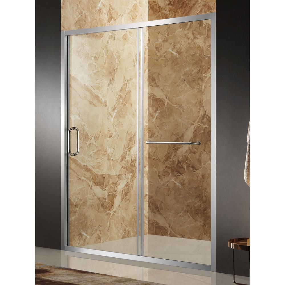 Regent 48 in. x 72 in. Framed Sliding Shower Door in Brushed Nickel with Handle