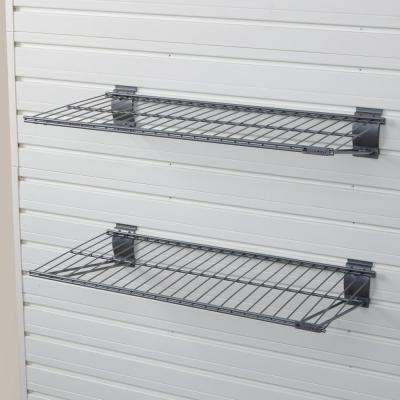 24 in. x 12 in. Metal Bracket Shelf - Silver (2-Pack)