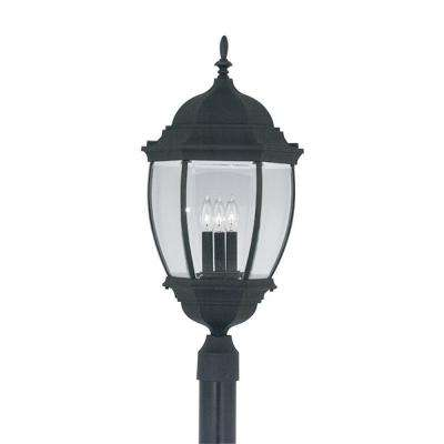 Hallowell Collection 3-Light Outdoor Black Post Lantern
