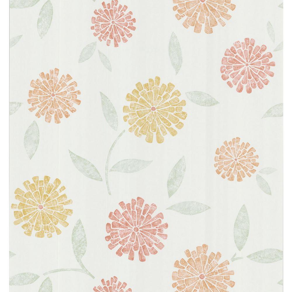 Brewster Simple Space Orange Zinnia Flower Wallpaper Sample 141